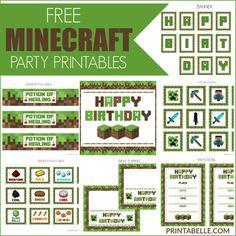 Free Minecraft Party Printable Set