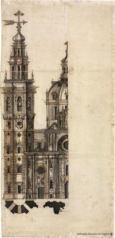 [Proyecto para la fachada de la Catedral de Cádiz]. Acero y Arebo, Vicente ca. 1675-1685-1739 — Dibujo — 1721