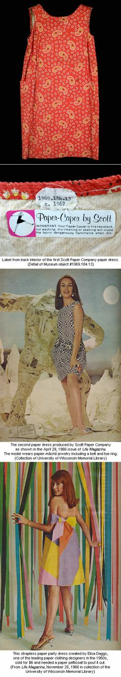 """""""Who is going to do laundry in space?"""" 1960s paper dresses made by Scott Paper Co. acted on the idea of disposable clothing."""