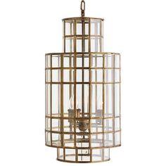 Dawson Hollywood Regency Brass Glass 3 Light Chandelier