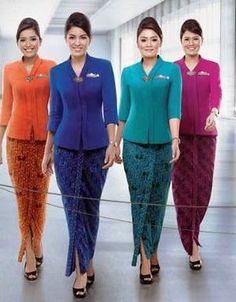 World's Best Cabin Crew Salwar Designs, Kurta Designs Women, Blouse Designs, Kebaya Modern Dress, Kebaya Dress, Batik Kebaya, Batik Dress, Batik Fashion, Hijab Fashion