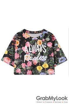 GrabMyLook Black Vintage Flowers Floral Always Flawless Short Sleeves Cropped T-Shirt