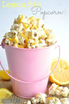 Lemon Pie Popcorn!  Tastes exactly like a lemon cream pie!  Quick and easy to make.  Perfect snack for kids and adults.