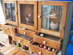 "The cupboard's drawers house soil, feed, straw, and eggs, while the larger portions function as homes for each chicken. Matton also fashioned curtains on the inside of each compartment, since chickens prefer to lay their eggs the dark. ""According to European law, three free-range chickens are allowed in this cupboard,"" Matton writes on his website. ""They have a place to scratch, to eat, and to lay an egg.""   ""The coop design is a clever option for those who would like to keep just a hen or…"
