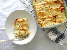 Lasanha branca de frango e cogumelos - Receita - SAPO Lifestyle Happy Foods, Quiche, Cauliflower, Macaroni And Cheese, Main Dishes, Cabbage, Goodies, Meat, Vegetables