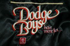 Vintage Dodge Boys Have More Fun black satin zip Racing Jacket Adult Small New