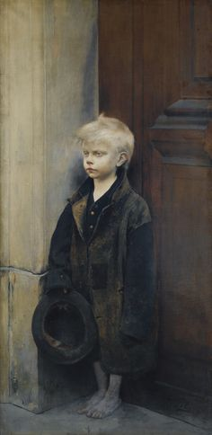 Petite misère ou mendiant au chapeau /  Misery or little beggar. Oil on Canvas. 156.5 x 78.5 cm.  Art by Fernand Pelez.(1843-1913).