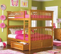 Columbia Caramel Latte Full/Full Bunk Bed w/2 Raised Panel Drawers