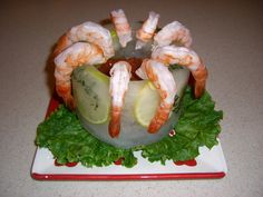 Valentine's Day: Appetizer of Shrimp in a Ice bowl I made with lemon slices and thyme