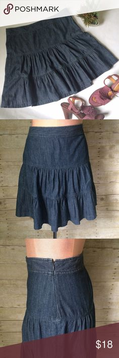 NEW ListingAnn Taylor LOFT tiered denim skirt Ann Taylor LOFT tiered denim skirt. Side zipper. Size is 6. 100% cotton. Lightweight, more like a chambray. Not interested in trades. LOFT Skirts