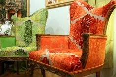 Handmade Upholstered Chair Vintage Settee, Custom Cushions and Lampshades in Tangerine Lemon and Lime by Jane Hall The Voice Of Style | CustomMade.com