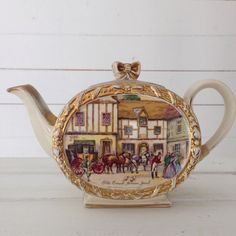Sadler Tea Pot Old Coach House York with Gold by LaviniasTeaParty