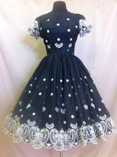 Vintage Black Embroidered Party Dress
