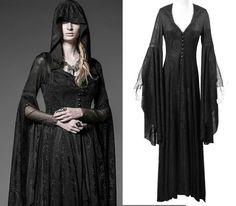 Punk Rave Gothic Kleid Hexe Witchy Mantel Kapuze Steampunk Dress Spitze Y510