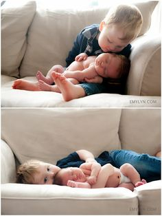 Newborn and sibling. Love the bottom photo!!!! Time for baby #3 just so I can take this pic...lol