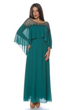 Rochie eleganta soacre plinute lunga verde din voal
