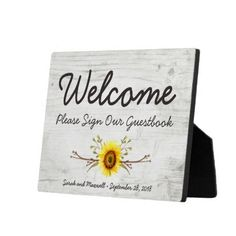 Sunflower Rustic Wood Farm Welcome Guestbook Sign Plaque - rustic gifts ideas customize personalize