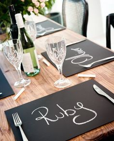 29 Creative chalkboard paint ideas - Chalkboard Placemats - Click Pic
