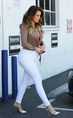 0 Khloe Kardashian's LA Jaide Clothing Brown Wrap Blouse, White Jeans, and Gianvito Rossi White Leather and Perspex Pumps 0