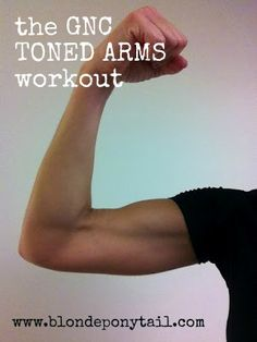 The GNC Toned Arms workout via @blondeponytail 5 moves of 10 reps. 4 rounds. No equipment. This site is awesome! It will get my arms in wedding dress shape in no time!
