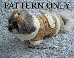 DOG CLOTHES COAT BOW CROCHET PATTERN S, M, L, XL #179 | eBay