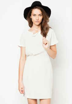 BREAD N BUTTER Side Pleat Belt Dress 褶飾腰帶連身裙 Short Sleeve Dresses, Dresses With Sleeves, Bread N Butter, Belted Dress, White Dress, Fashion, Moda, White Dress Outfit, Fashion Styles
