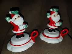 Vintage 1959 Holt Howard Santa Set of 2 Tiny Candle Holders by VintageBarnYard on Etsy