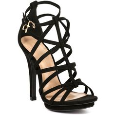 Black Naturally Strappy Heels ($27) ❤ liked on Polyvore featuring shoes, pumps, heels, kohl shoes, strappy heel shoes en black shoes