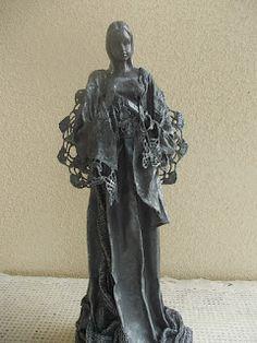 Decu - Powertex ... moja pasja ...: Anioł Stróż II ... Powertex Garden Sculpture, Decoupage, Statue, Outdoor Decor, Home Decor, Art, Plastering, Art Background, Decoration Home