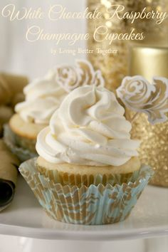 White Chocolate Raspberry Champagne Cupcakes | www.livingbettertogether.com