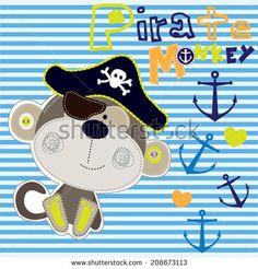 pirate monkey striped background vector illustration