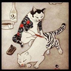 Japanese cat tattoo