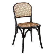 Set de 2 sillas en madera de abedul negra.Asiento y respaldo de rejilla en ratán natural.Medidas:Largo 44cm. Alto 86 cm.Ancho 41.Altura del asiento 45,5 cm.Estilo vintage.Consultar disponibilidad.