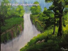 Title: Waterfalls Size: 16x20 Inches Medium: Acrylic on canvas Status: Available (For sale) Price: $ 500  #painting#acrylic#canvas#landscape#art#waterfalls#forest#walldecor Acrylic Canvas, Fb Page, Paintings For Sale, Landscape Art, Waterfalls, Wall Decor, Medium, Outdoor, Wall Hanging Decor