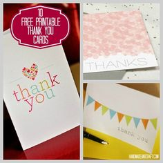 10 Free Printable Thank You Cards.I love free stuff! Printable Thank You Cards, Freebies, Free Prints, Scrapbook Cards, Scrapbooking, Diy Cards, Homemade Cards, Teacher Gifts, Making Ideas