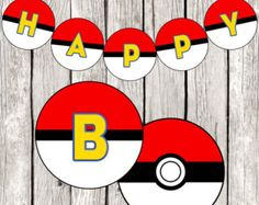 Custom Pokemon Pikachu Party Banner por Flair4Paper en Etsy