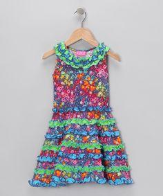 GiGi Green & Teal Ruffle Dress - Infant, Toddler & Girls