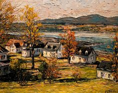 Raynald Leclerc - Riverside Resort Canadian Painters, Canadian Artists, Landscape Paintings, Watercolor Paintings, Landscapes, Impressionist Art, Autumn Art, City Art, Pictures To Draw