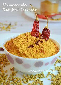 How to make Sambar Powder · Red chilly - 12 to Cumin / Jeera - 2 tsp· Mustard - 2 tsp· Urad dal - 3 tbsp· Fenugreek - 2 tsp· Pepper - 2 tsp· Chana dal - ½ cup· Toor dal - ½ cup· Coriander seeds - ¾ cup Salt to taste Homemade Spices, Homemade Seasonings, Sambhar Recipe, Tandoori Masala, Garam Masala, Natural Food Coloring, Powder Recipe, Masala Recipe, South Indian Food
