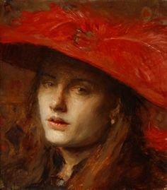 """Charles Weed """"Girl with Red Feather Hat"""""""