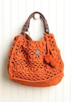 Fresh persimmon crochet shoulder purse...Love this!