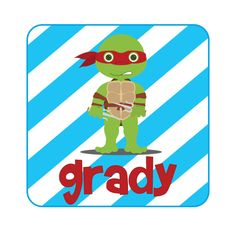 Personalized Boys Ninja Turtle Design by LittleYellowHippo on Etsy, $16.00