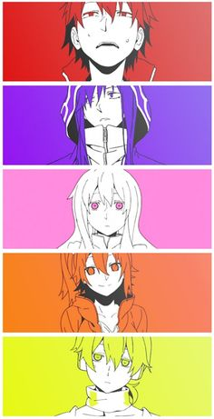 Shintaro, Kido, Marry, Momo and Konoha from the Mekaku City Actors opening.