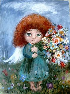 Composition Kinkade Paintings, Angel Pictures, Naive Art, Angel Art, Art Themes, Painting For Kids, Cute Illustration, Stone Painting, Fantasy Art