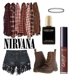 """""""Come As You Are"""" by kymomandstuff-1 on Polyvore featuring Sans Souci, tarte, Dr. Martens, plaid and WardrobeStaples"""