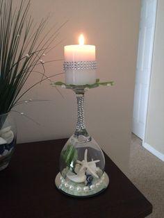 Beach wedding seashell wine glass candle holder  by MyAwesomeWedding on Etsy Beach wedding ideas.