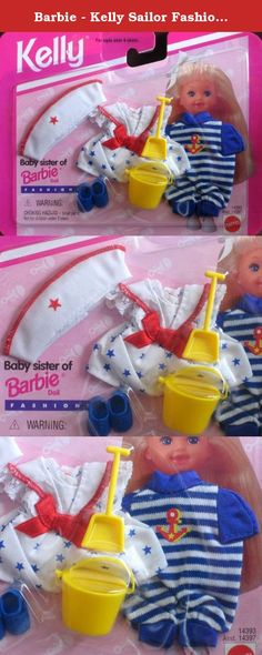 Barbie - Kelly Sailor Fashions My Wish List (1995). Kelly, Baby Sister of Barbie Fashions, My Fashion Wish List is a 1995 Mattel production. Model #14393. Included in this package is a white sailor style dress with blue stars pattern, a red bow at the waist & white lace with red trim around the sailor collar of the dress. There's also a white sailor cap with red star & red thread trim around the top of the cap, a pair of blue sandals, a blue & white horizontal stripe one piece Jumpsuit…