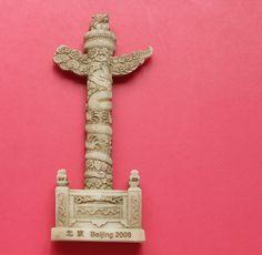 Resin Fridge Magnet, Hand Painted, 9.5 x 3.5 cm, Tian'an men Huabiao , BeiJing, CHINA #(Excerpt)