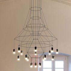 Suspension LED impressionnante Wireflow, noire-9515102-01
