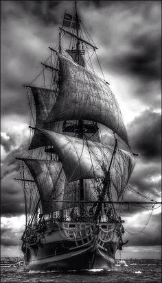 Tall Ships and Sailing Tall Ships, Bateau Pirate, Old Sailing Ships, Ghost Ship, Black Sails, Sail Away, Ship Art, Water Crafts, Lighthouse
